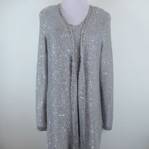 NWT Chicos silver sequin twinset cardigan tank 2 M